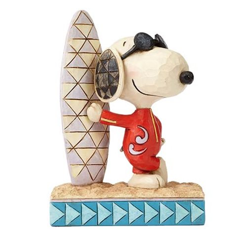 Peanuts Jim Shore Joe Cool Snoopy with Surfboard Statue