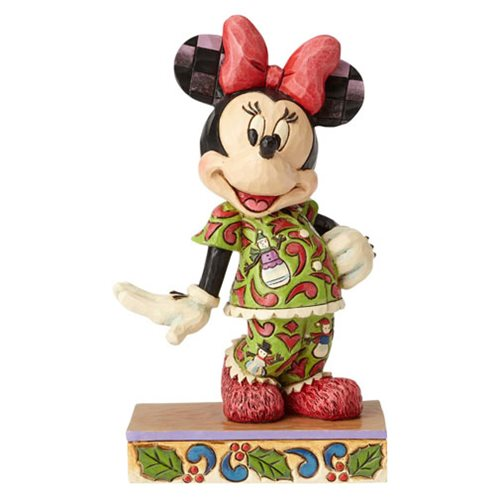 Disney Traditions Minnie Mouse in Christmas Pajamas Comfort and Joy Statue