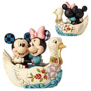 Disney Traditions Mickey and Minnie Mouse in Swan Statue