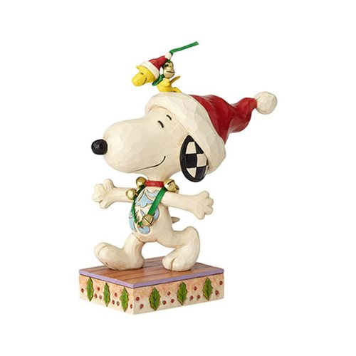 Peanuts_Snoopy_and_Woodstock_with_Jingle_Bells_Statue_by_Jim_Shore