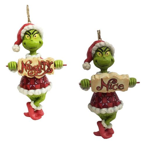 Dr. Seuss The Grinch Grinch with Naughty Nice Sign Ornament by Jim Shore