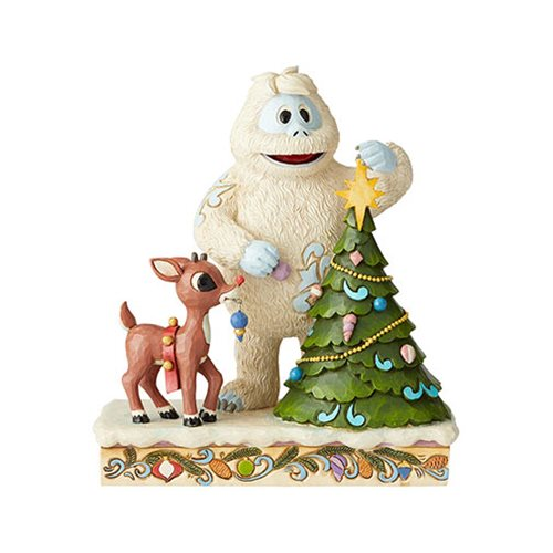 Rudolph the Red-Nosed Reindeer and Bumble with Tree Statue