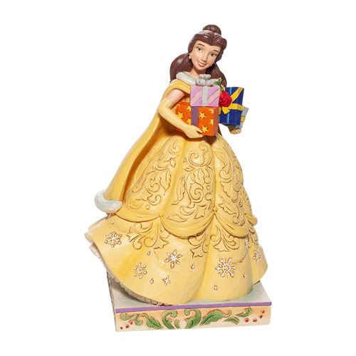 Disney Traditions Beauty and the Beast Belle Christmas Gifts of Love Statue by Jim Shore