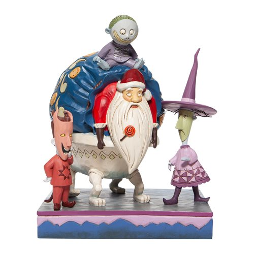 Disney_Traditions_Nightmare_Before_Christmas_Lock,_Shock,_and_Barrel_with_Santa_Bagged_and_Delivered_Statue_by_Jim_Shore