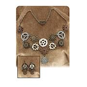 Steampunk Multi Gear Necklace and Earrings Set