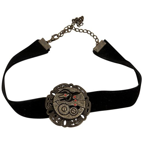 Steampunk Antique Gear Black Velvet Choker