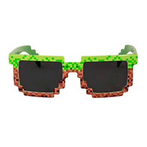 Pixel Brick Green and Brown Sunglasses
