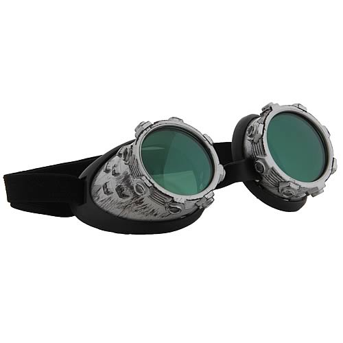 Steampunk CyberSteam Silver/Green Goggles