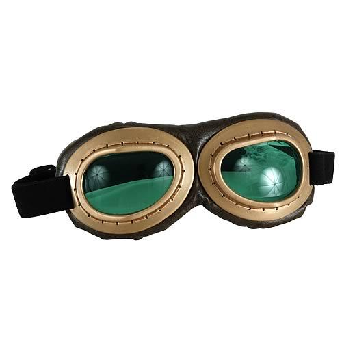 Steampunk Gold/Green Aviator Goggles