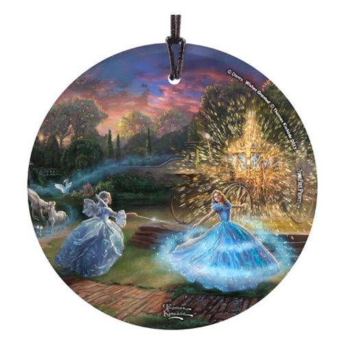 Cinderella Wishes Granted by Thomas Kinkade StarFire Prints Hanging Glass Ornament
