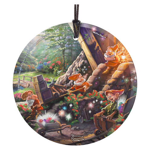 Snow White and the Seven Dwarfs Doc Happy Grumpy Dopey Thomas Kinkade StarFire Prints Hanging Glass Ornament