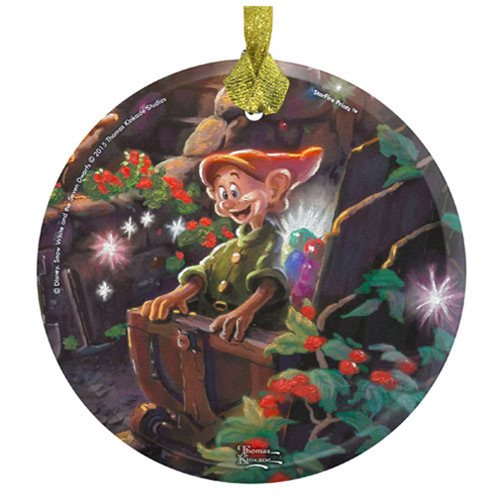 Snow White and the Seven Dwarfs Dopey Thomas Kinkade StarFire Prints Hanging Glass Ornament