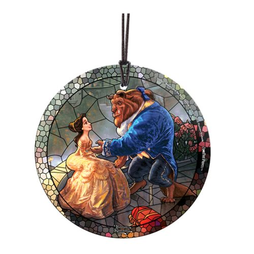 Beauty and the Beast Stained Glass Effect Thomas Kinkade Starfire Prints Hanging Glass Ornament