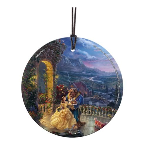 Beauty and the Beast Dancing in theÿMoonlight Thomas Kinkade Starfire Prints Hanging Glass Ornament