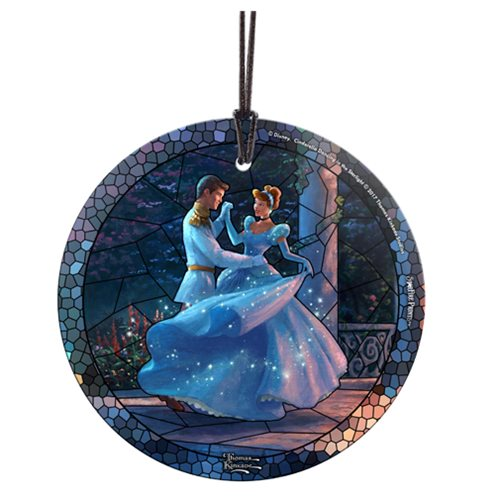 Disney Cinderella Dancing in the Starlight Stained Glass Thomas Kinkade StarFire Prints Hanging Glass Ornament