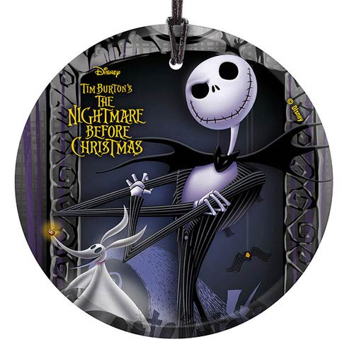 Nightmare Before Christmas Jack and Zero Glass Print