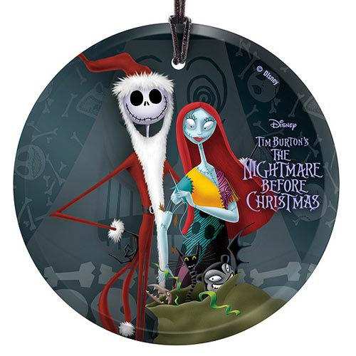 Nightmare Before Christmas Santa Jack and Sally Glass Print