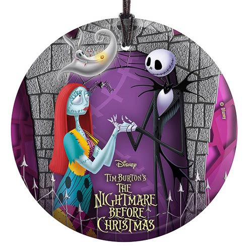 Nightmare Before Christmas Jack, Sally, and Zero Glass Print