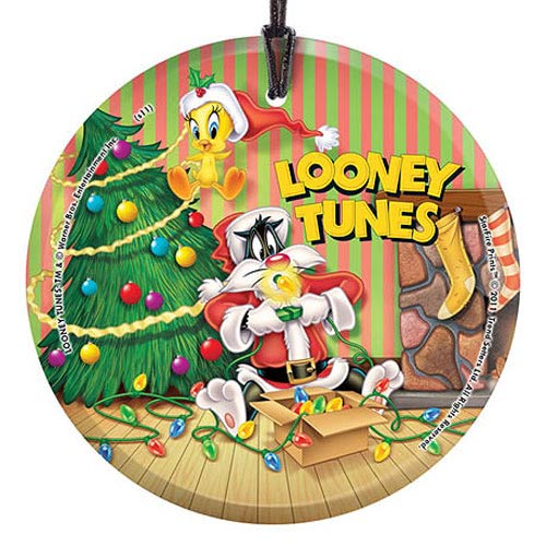 Looney Tunes Sylvester and Tweety Christmas Glass Print