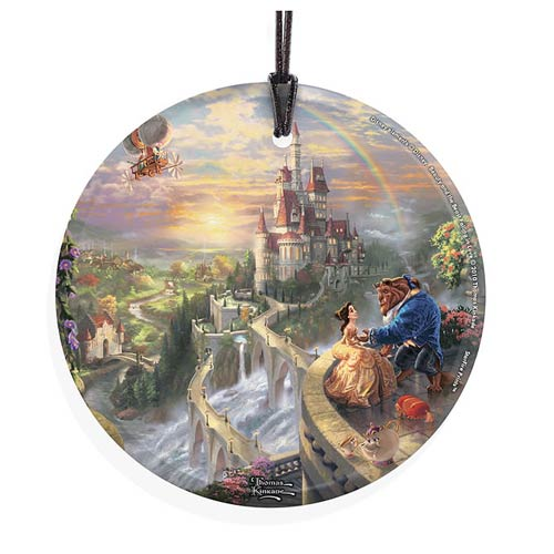 Beauty and the Beast Falling in Love Hanging Glass Print