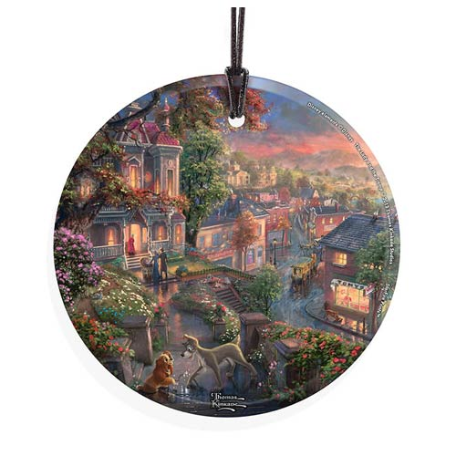 Lady and the Tramp by Thomas Kinkade StarFire Prints Hanging Glass Print