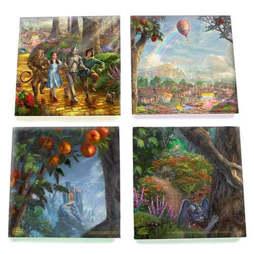 Wizard of Oz Thomas Kinkade Follow the Yellow Brick Road StarFire Prints Glass Coaster Set