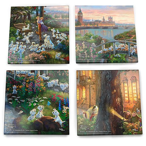 Relive the classic Walt Disney movie 101 Dalmatians and bring home this unique Thomas Kinkade collectible! Thomas Kinkade, the Painter of Light, emphasized simple pleasures and inspirational messages through his art. The 101 Dalmatians Thomas Kinkade Starfire Prints Glass Coaster Set features beautiful images of everyone's favorite characters from 101 Dalmatians . Each 4-inch square coaster is translucent yet vibrant with color, and is crafted to offer lasting durability. Made of high-quality glass with soft pads underneath to protect surfaces, the set includes a stylish holder for easy storage. Hand wash only. Not dishwasher safe. StarFire Prints glass coasters are photographic-quality prints on translucent glass. Featuring artwork from your favorite movies, these prints are an elegant way to display your fandom to the world. The images are permanently fused into the glass, resulting in a semi-translucent print that captures the natural light, enhancing the color display and making e