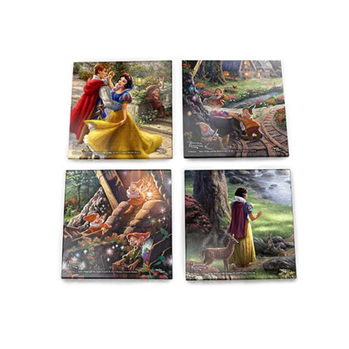 Disney Snow White Thomas Kinkade StarFire Prints Glass Coaster Set