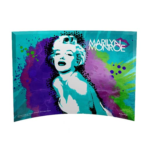 Marilyn Monroe Pop Art Blue Curved Glass StarFire Print