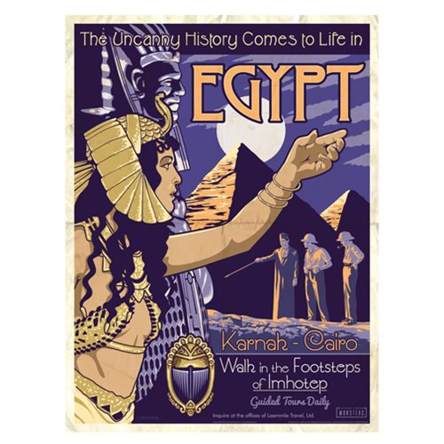 Universal Monsters The Mummy Vintage Travel Lithograph Print