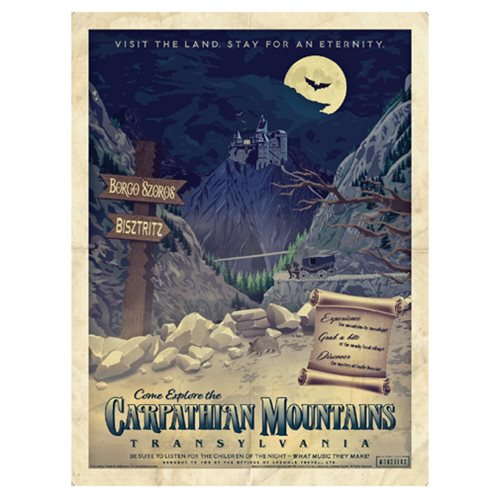 Universal Monsters Dracula Vintage Travel Lithograph Print
