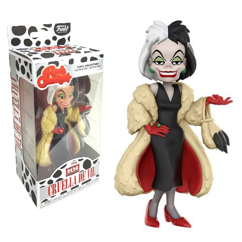 From 101 Dalmatians , Cruella joins Funko's line-up of Rock Candy Vinyl Figures. This villain will look right at home in your Disney collection. Standing approximately 5-inches tall, this 101 Dalmatians Cruella De Vil comes packaged in a window display box. Ages 3 and up.