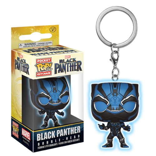 Black Panther Blue Glow Pocket Pop! Key Chain