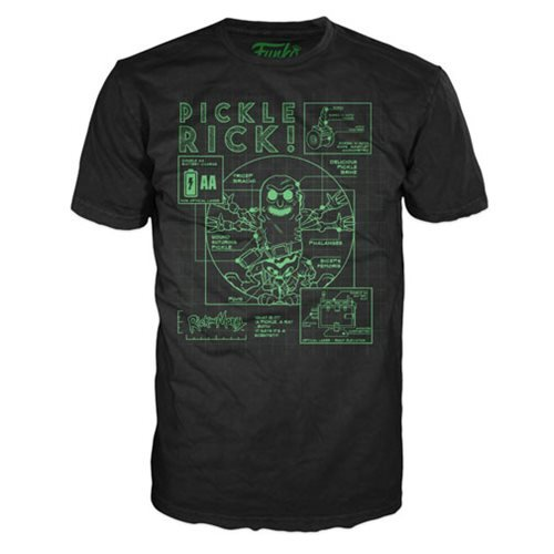 Rick and Morty Pickle Rick Blueprint Black Pop! T-Shirt