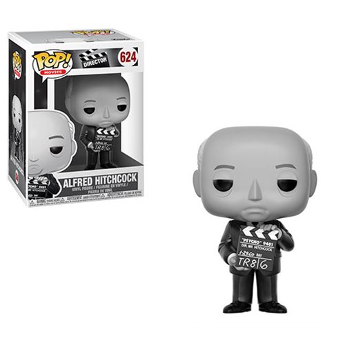 The Master of Suspense directed 53 films, won too many awards to mention, and cemented his place as one of the most influential filmmakers in the world. The one and only Alfred Hitchcock joins the funko family of directors as a Pop! Vinyl Figure. Decked out in black and white, Hitchcock is holding a movie clapboard for Psycho - one of his best-known films. This Alfred Hitchcock Pop! Vinyl Figure #624 measures approximately 3 3/4-inches tall and comes packaged in a window display box.