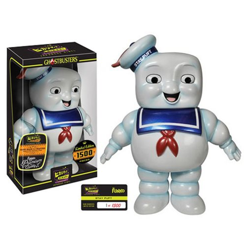 Here comes the Stay Puft Marshmallow Man from the classic Ghostbusters movie! When he finishes invading New York City, this Ghostbusters Stay Puft Marshmallow Man Premium Hikari Sofubi Vinyl Figure can invade your collection. Nothing can break Stay Puft as he flashes his trademark smile and comes with his hat, shiny blue jumper, and red tie. This Ghostbusters Stay Puft Marshmallow Man Premium Hikari Sofubi Vinyl Figure stands approximately 8 1/2-inches tall and comes in a window box package and is a limited edition of only 1,500 pieces. Ages 14 and up.