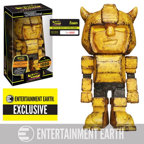 Autobots roll out! This Classic Transformers Autobot looks primed and ready for battle! This Transformers Battle Ready Bumblebee Hikari Premium Japanese Vinyl - Entertainment Earth Exclusive is a limited edition of only 1,000 pieces and is individually numbered. Bumblebee is given the Hikari Premium styling, as he stands 6-inches tall in a distressed and battle-worn look! The Transformers Battle Ready Bumblebee Hikari Premium Japanese Vinyl - Entertainment Earth Exclusive is hand-painted with even more paint and special attention (over 75 paint applications) to detail give this Premium figure an even more spectacular look! Bumblebee comes in a stylish and displayable window box, for all your Transformer-collecting friends to drool over! Measuring about 7-inches tall. Ages 14 and up.