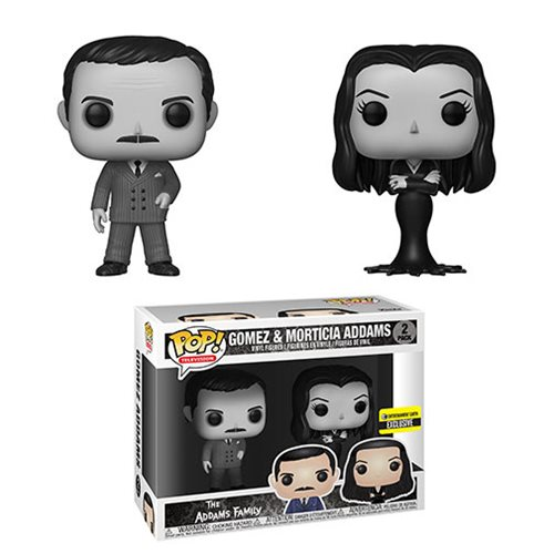Addams Family Morticia and Gomez Black-and-White Pop! Vinyl Figure 2-Pack - Entertainment Earth Exclusive