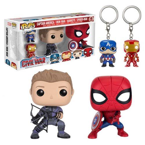 Captain America: Civil War Pop! Vinyl and Key Chain 4-Pack
