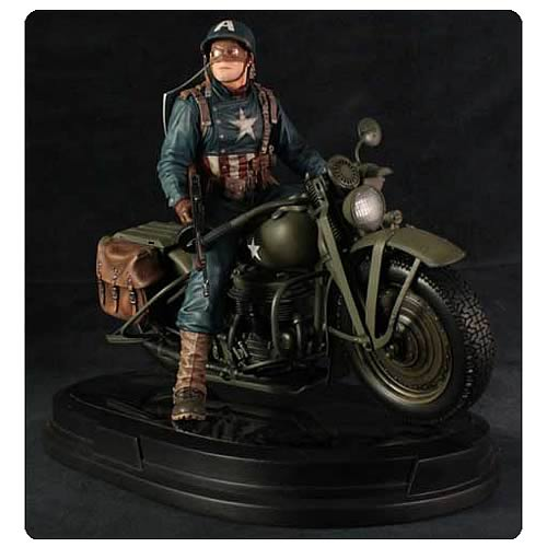 Captain America on Motorcycle Statue