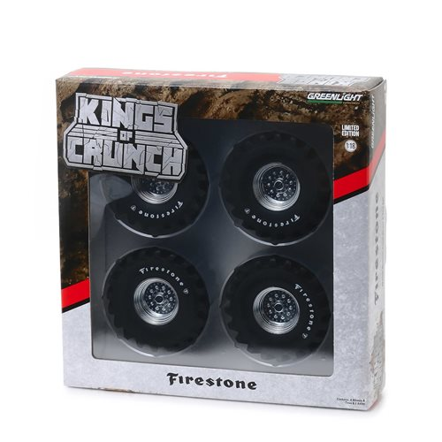 Kings of Crunch 48-Inch Monster Truck Firestone 1:18 Scale Wheel and Tire Set