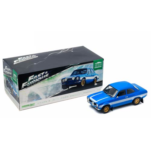 19022 Brians 1974 Ford Escort RS2000 Mk1 Blue with White Stripes Fast & Furious 6 Movie 2013 1-18 Diecast Model Car -  GreenLight
