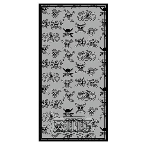 One Piece Straw Hat Pirates Jolly Roger Gray and Black Towel