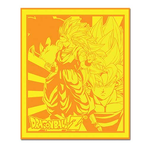 Dragon ball z goku gold throw blanket great eastern for Dragon ball z bathroom
