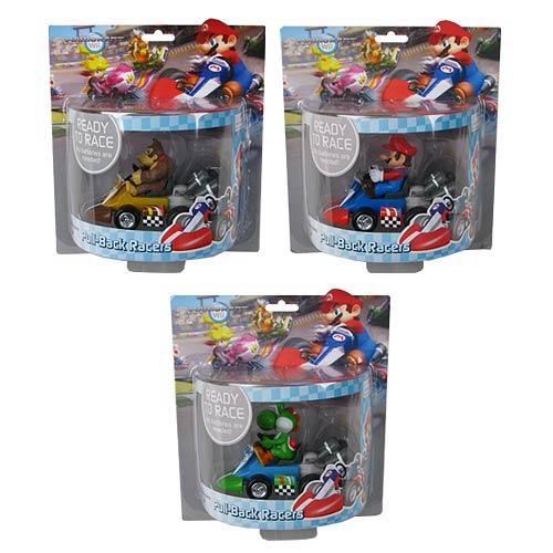 Super Mario Mario Kart Wii Large Pullback Racer 3pc Set