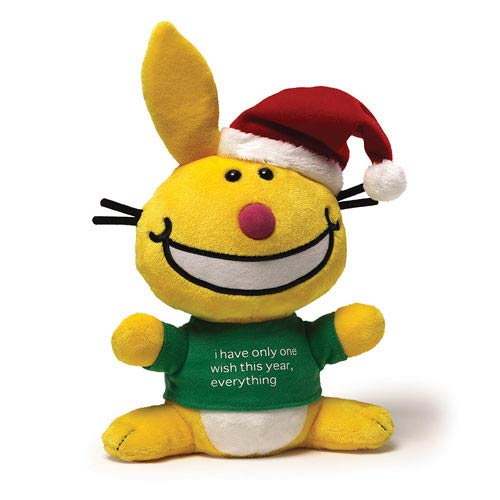 It's Happy Bunny Christmas Yellow Bunny 10-Inch Plush