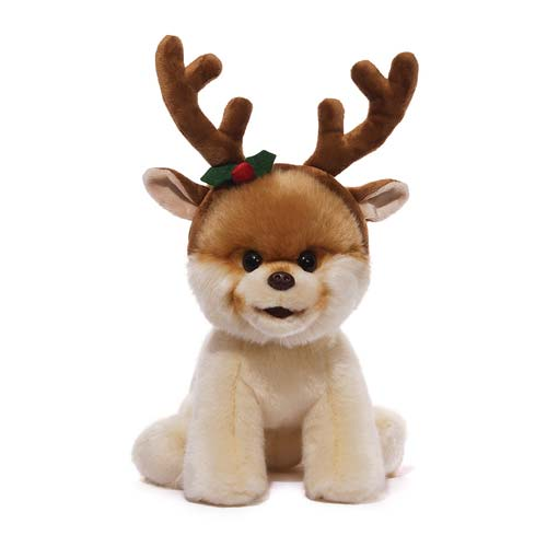 Boo with Reindeer Antlers Plush