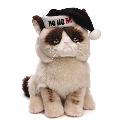 Grumpy Cat with Black Santa Hat Holiday Plush