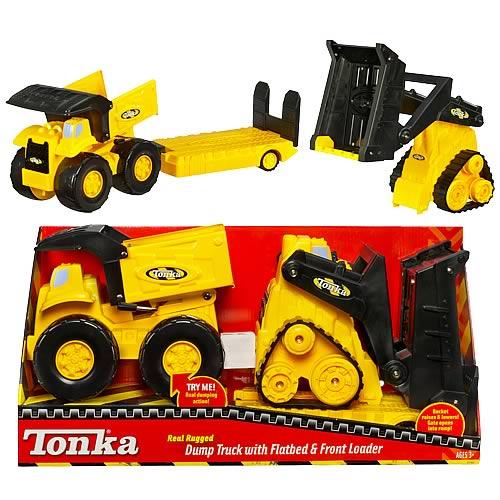 Tonka Real Rugger Dump Truck, Flatbed, & Front Loader