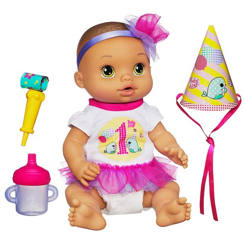 Baby alive party baby doll brunette hasbro baby alive for Porte bebe toys r us